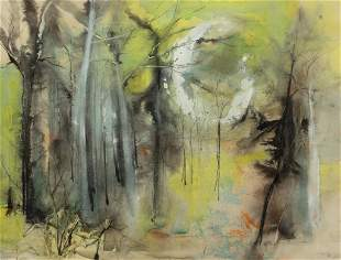 William Thon, Spring Woods, Mixed media on paper,