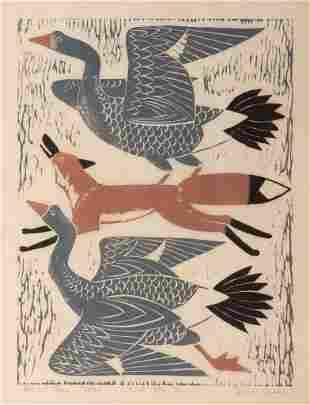 Dahlov Ipcar, Fox and Geese, Woodblock print, framed