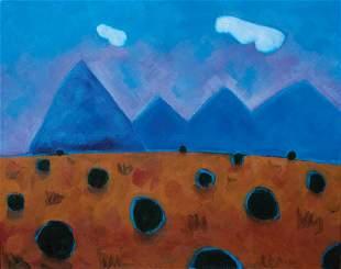 "Philip Barter, ""Hacheta (sic) Mts, NM"" 2001, Acrylic on"