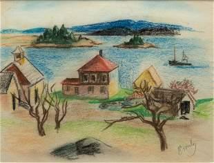 Emily Muir, Stonington Vista, Crayon on paper, framed