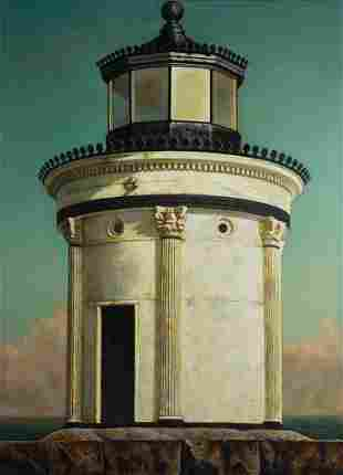 Thomas Nadeau, Portland Breakwater Lighthouse, Oil on