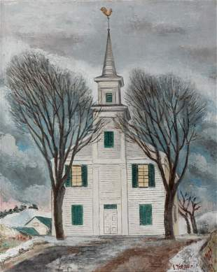 Ernest Fiene, Church, Oil on canvas, framed