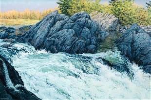 Janice Anthony, Two Falls, Sebec Lake, Acrylic on