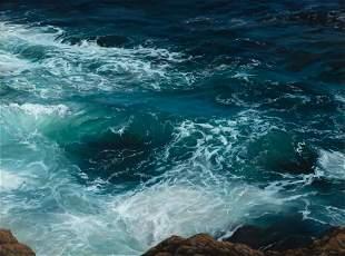 "Sally Ladd Cole, ""Waves Against Gull Rocks"", Oil on"