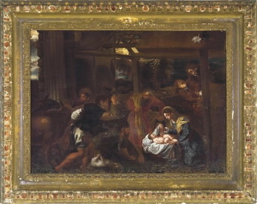 School of Jacopo Bassano, Adoration of the Shepherds, a