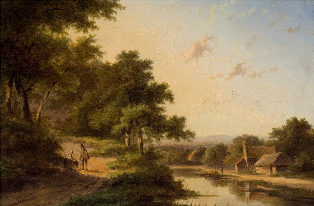 Landscape (with stream, house, and two figures resting
