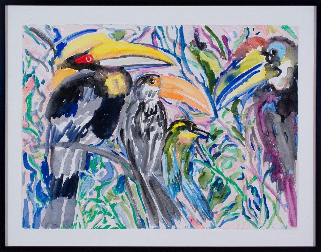 Hunt Slonem -  Four Hornbills - 2