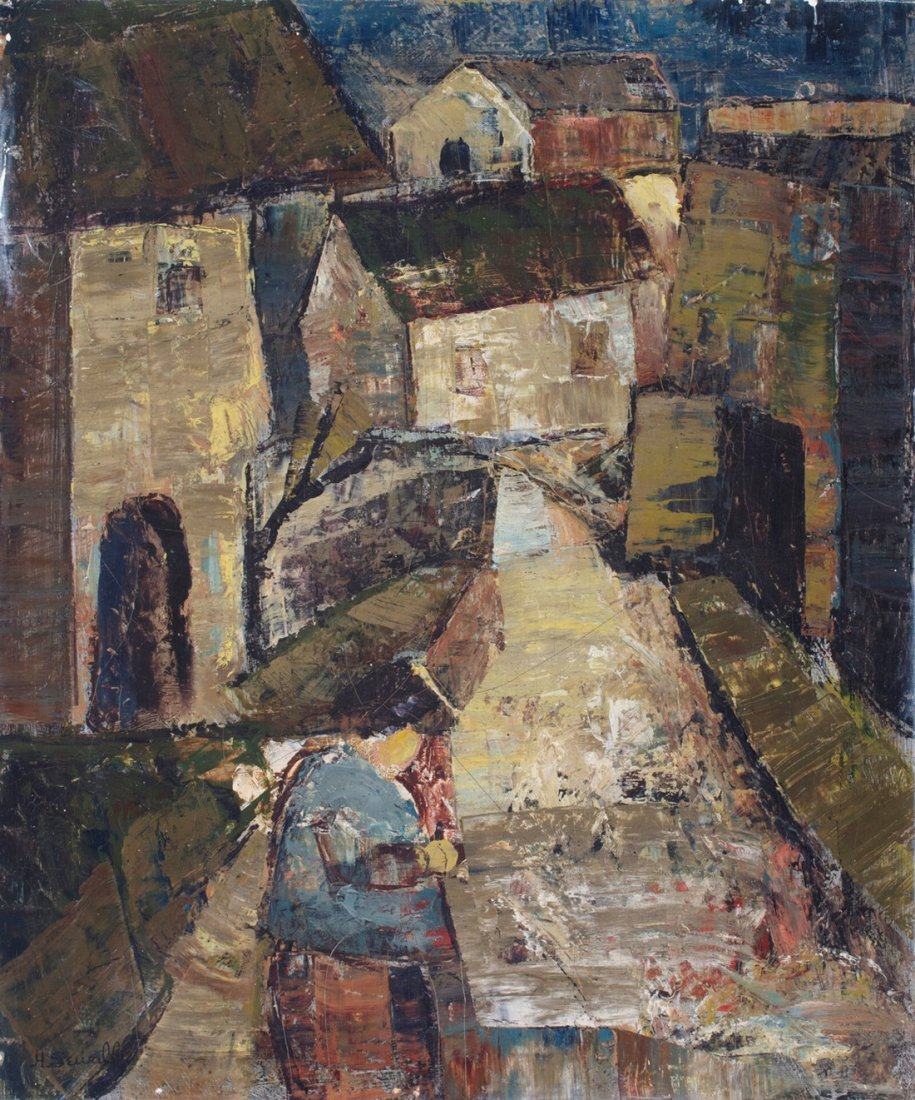Howard Sewall -  Townscape with Seated Figure