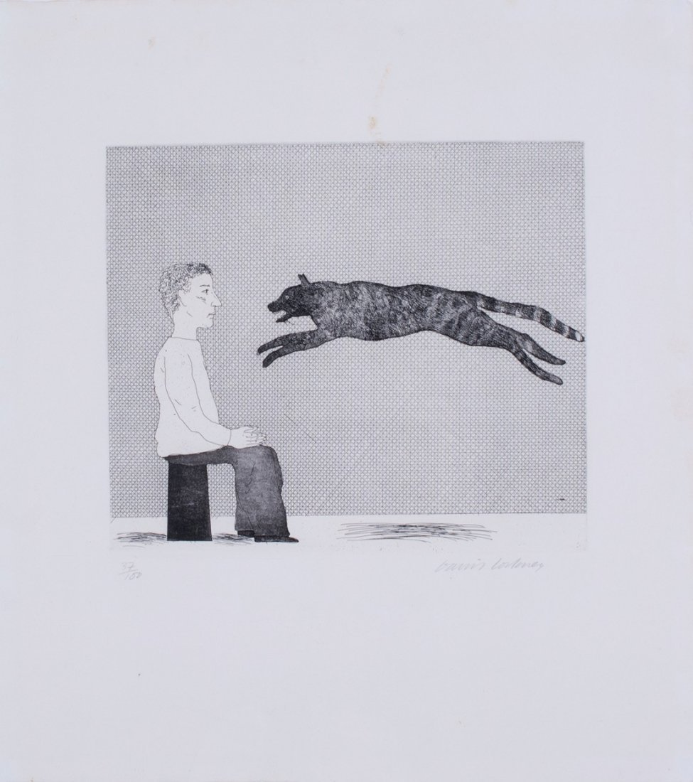 David Hockney -  Black Cat Leaping (plate 25 from