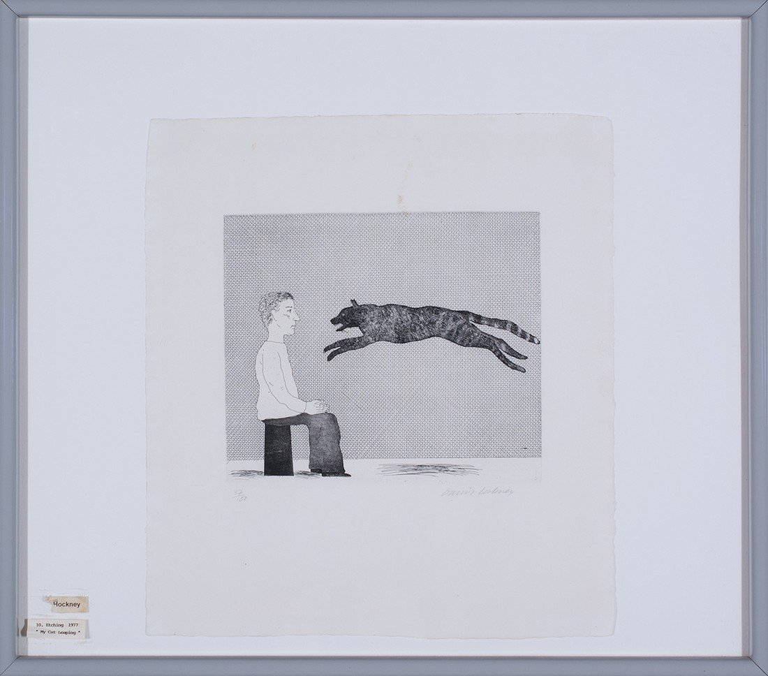 David Hockney -  Black Cat Leaping (plate 25 from - 2