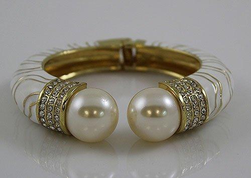 White Faux Pearl Enamel Bracelet