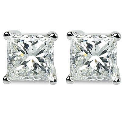 Genuine 0.66 ctw Princess cut Diamond Stud Earrings G-H