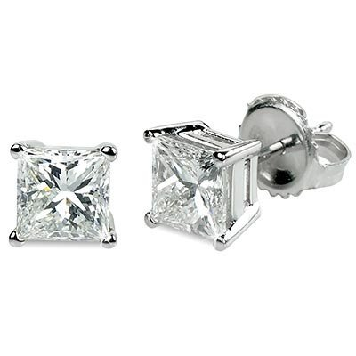 Genuine 1.00 ctw Princess cut Diamond Stud Earrings G-H