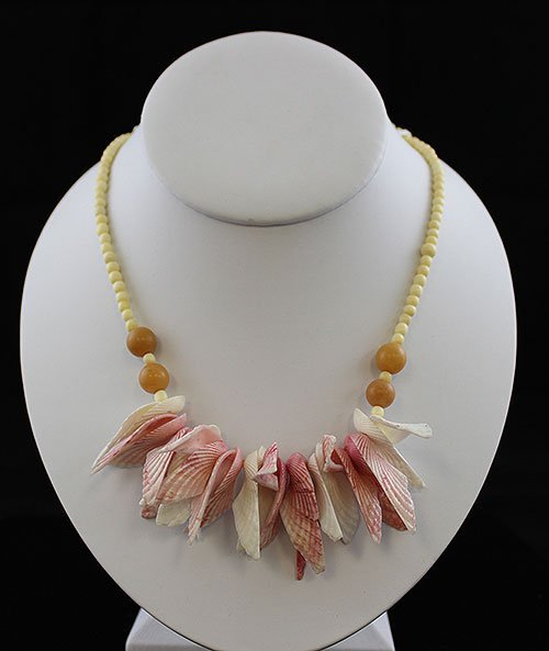 Vintage Round Mustard Bead with Sea Shell Necklace