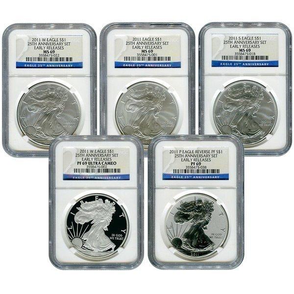 2011 American Eagle 25th Anniversary 5pc Silver Set