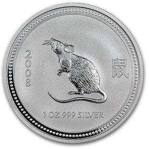 2008 1 oz Silver Lunar Year of the Mouse