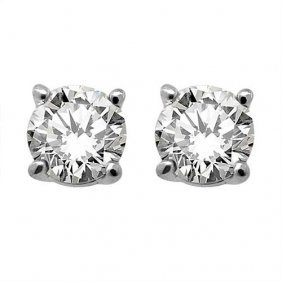 Genuine 0.33 ctw Round cut Diamond Stud Earrings I-J, S