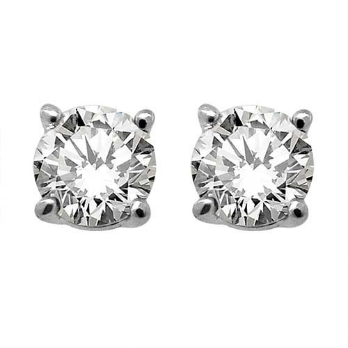 Genuine 0.33 ctw Round cut Diamond Stud Earrings I-J, S