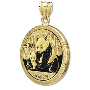 2012 1 oz Gold Panda Pendant (Diamond-Prong Bezel)