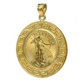 2012 1/10 oz Gold Eagle Pendant (Greek Key-Prong Bezel)