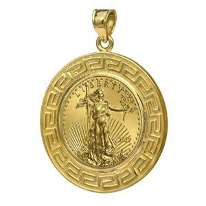 2012 1/10 oz Gold Eagle Pendant (Greek Key-Prong Bezel)