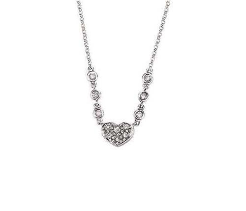 14K White Gold Necklace; 55pts  Diamond
