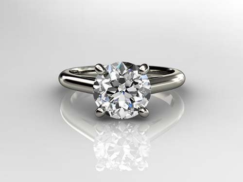 Genuine 0.35 ct Round cut Diamond Solitaire Ring, G-H,