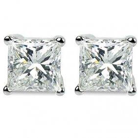 Genuine 0.75 ctw Princess cut Diamond Stud Earrings G-H