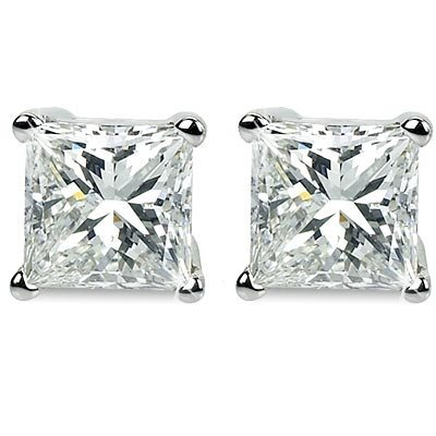 Genuine 0.75 ctw Princess cut Diamond Stud Earrings G-H