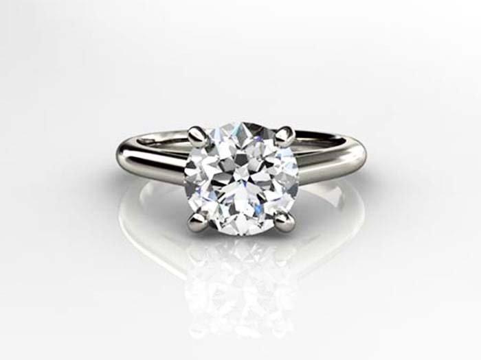 Genuine 0.35 ct Round cut Diamond Solitaire Ring, G-H,
