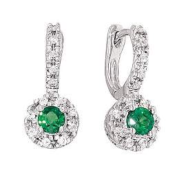 14K White Gold Earring; 25pts Diamond;38pts  Emerald