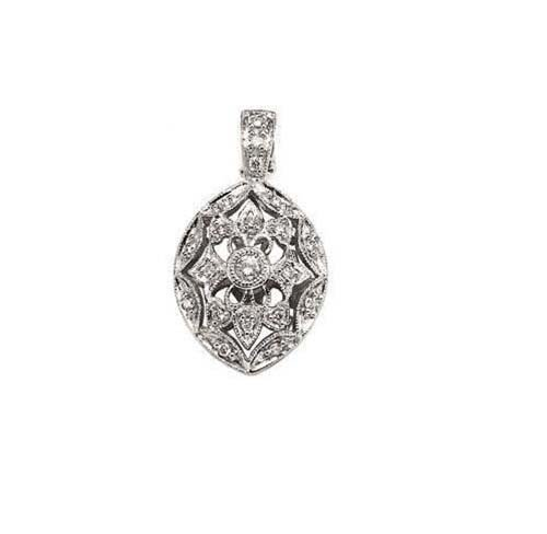 14K White Gold Pendant; 15pts  Diamond