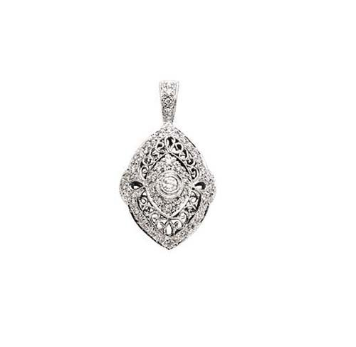 14K White Gold Pendant; 30pts  Diamond