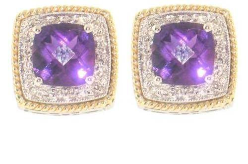14K 2Tone Square Shape Earrings; 25pts Diamond;  2.85ct