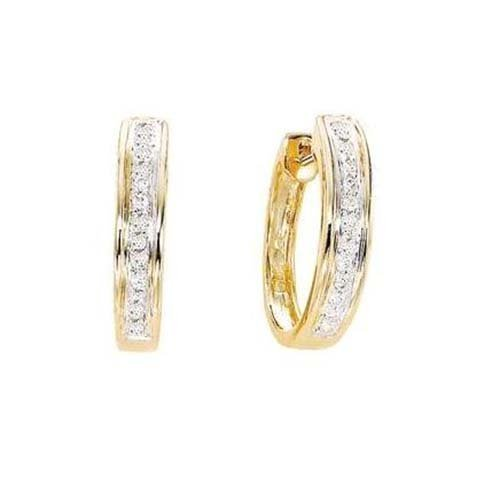 14K Yellow Gold  Channel Set Rd Earrings, 20pts Diamond