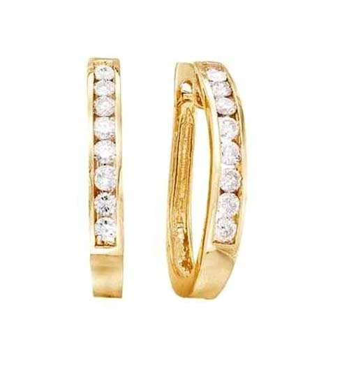 14K Yellow Gold Channel Set Oval Earrings; 1ctw Diamond