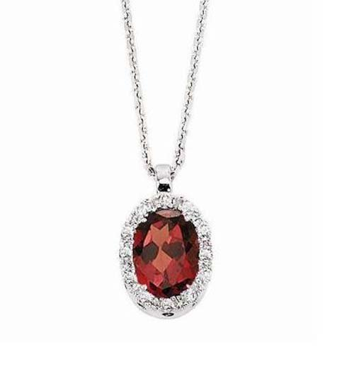 14k White Gold Necklace; 6pts Diamond;  1Ct Garnet