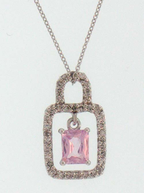 14K White Gold Necklace; 16pts Diamonds; 49pts Rctpink