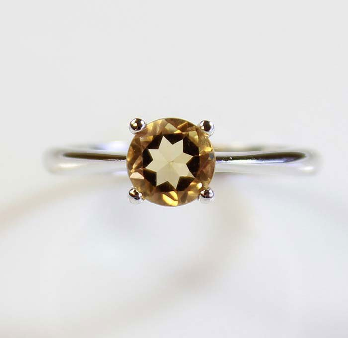 Natural Citrine 1.30ctw Ring 14kt White Gold