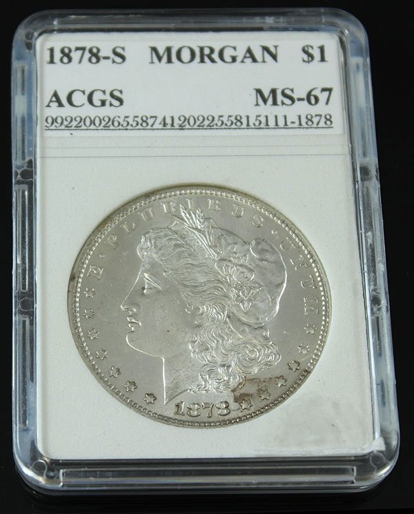 1878-S MORGAN ACGS MS 67