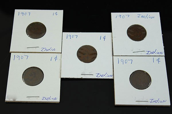 1907 INDIAN PENNIES  1 CENT (5 PCS)