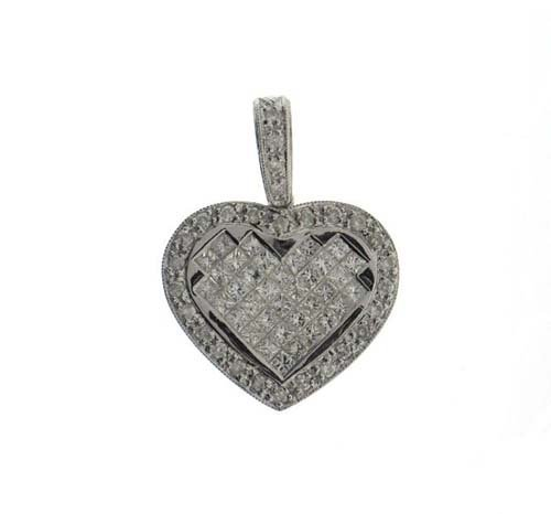 14K White Gold Heart Pendant ;28 pts  Diamonds; 92pts P