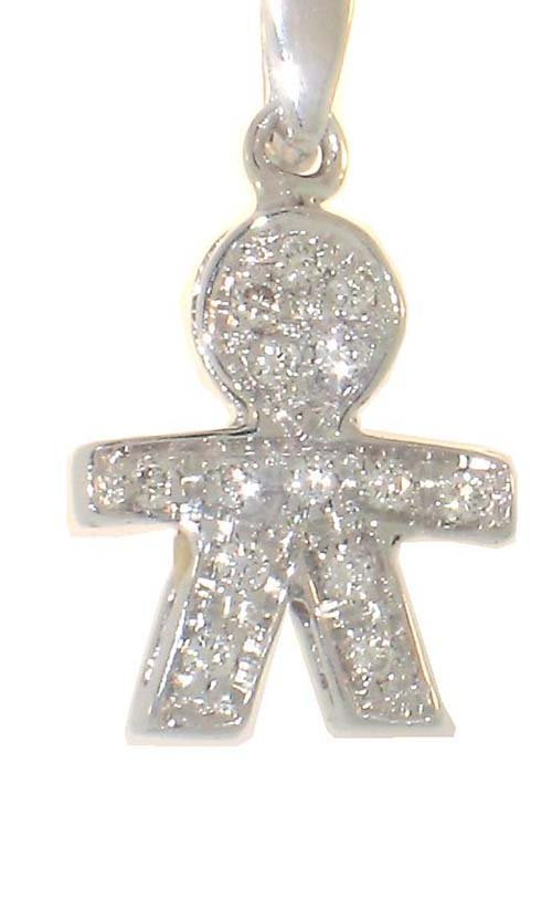 18K White Gold Baby Boy Necklace; 8pts Diamond