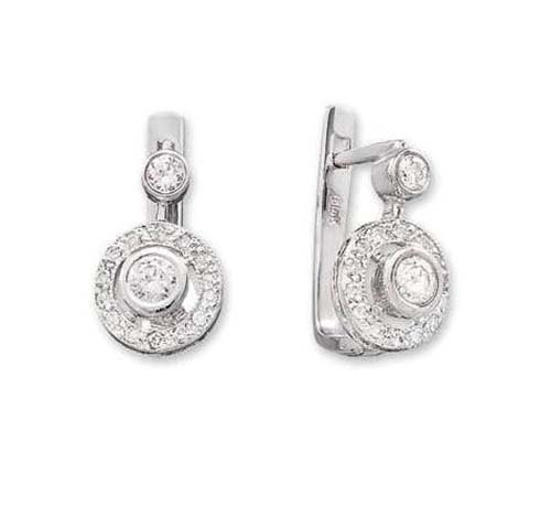 14K White Gold Earring; 50pts  Diamond