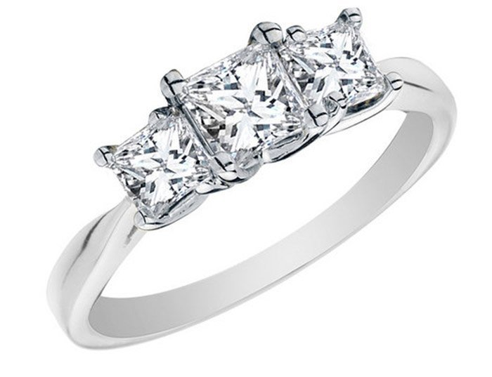 Genuine 2.50 ctw Princess cut Three Stone Diamond Ring,