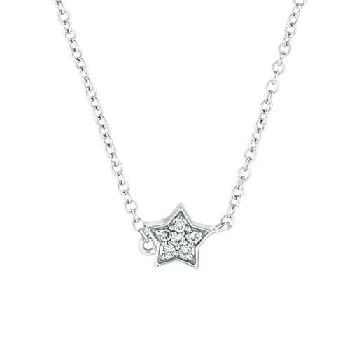 14K White Gold Star Necklace; 37pts Diamonds
