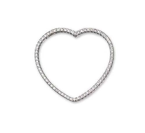14K White Gold Heart Pendant; 50pts Diamond