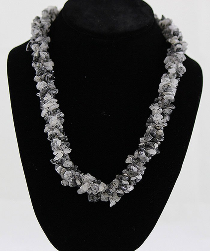 """18"""" Twisted Marble Chipped Stone Necklace"""