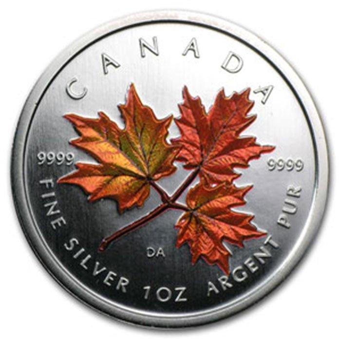 2001 1 oz Silver Canadian Maple Leaf (Autumn)