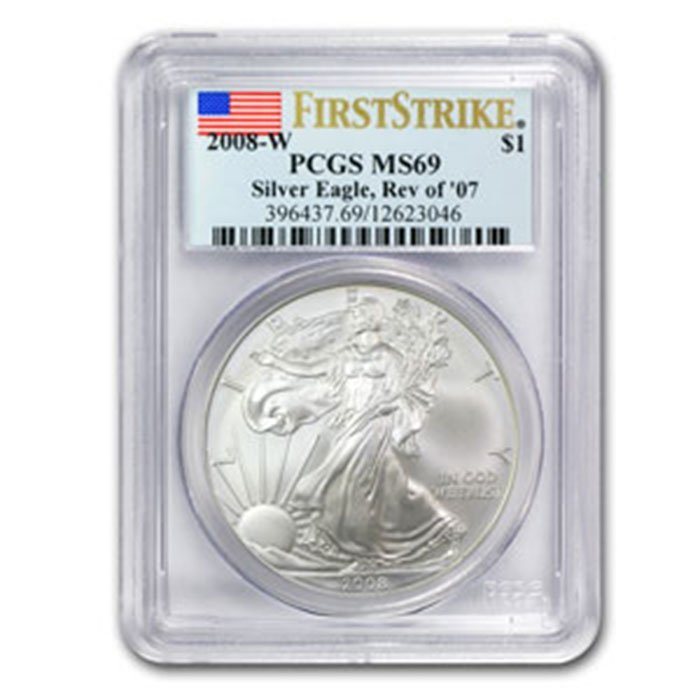 2008W Burnished Silver American Eagle MS69PCGS(Rev'07)
